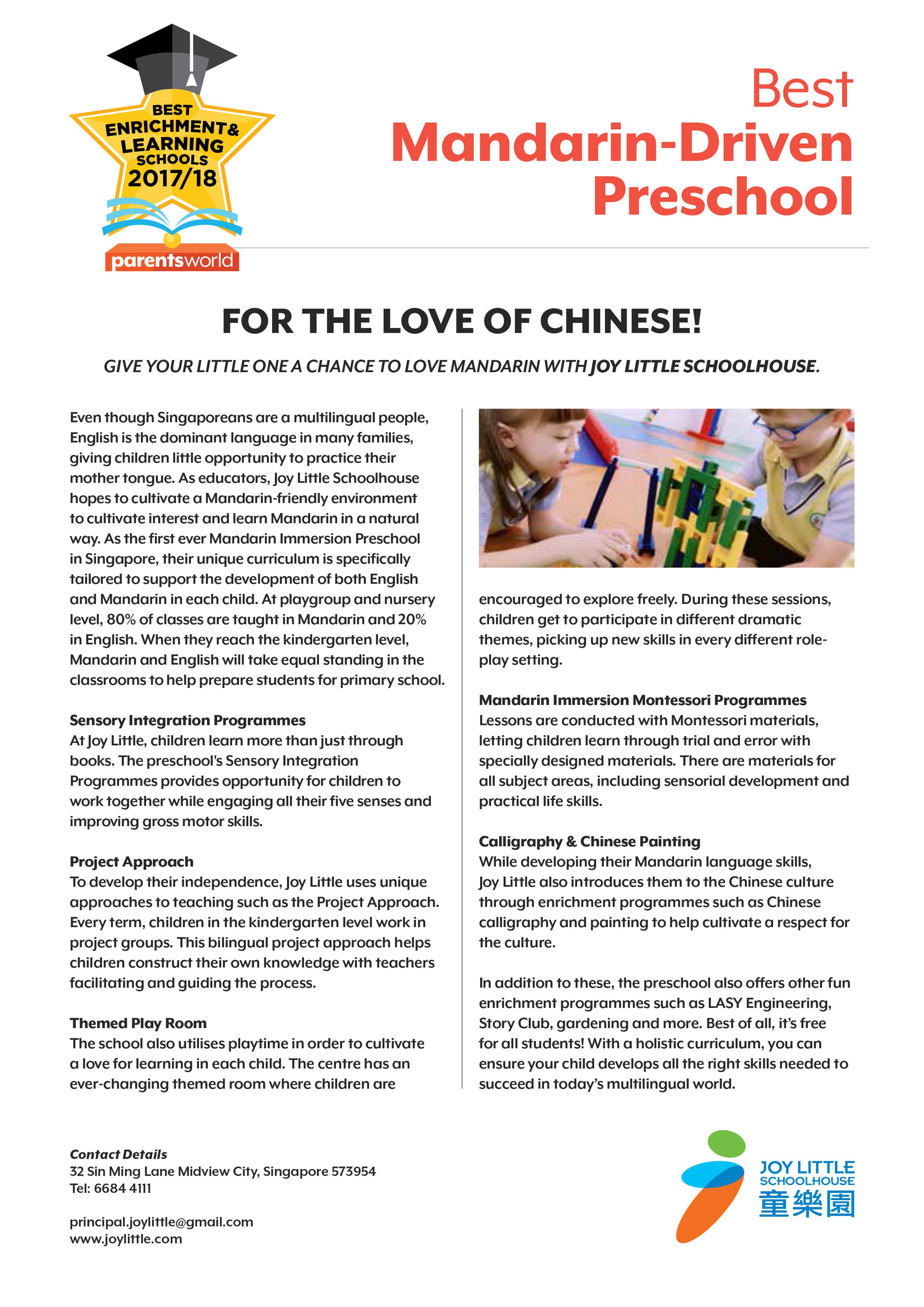 Best Mandarin-Driven Preschool - Parents World